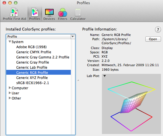 Screenshot Mac OS X ColorSync Utility